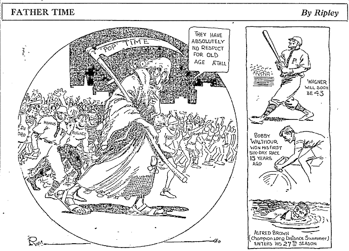 Ripley cartoon about Father Time, Idaho Statesman newspaper 31 December 1916