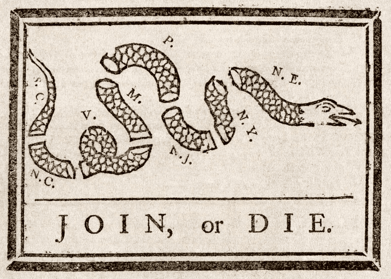 1754 political cartoon by Benjamin Franklin about the French and Indian War