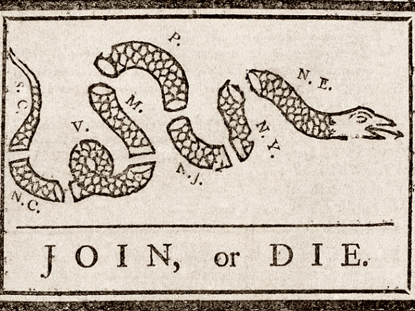 Illustration: 1754 political cartoon by Benjamin Franklin