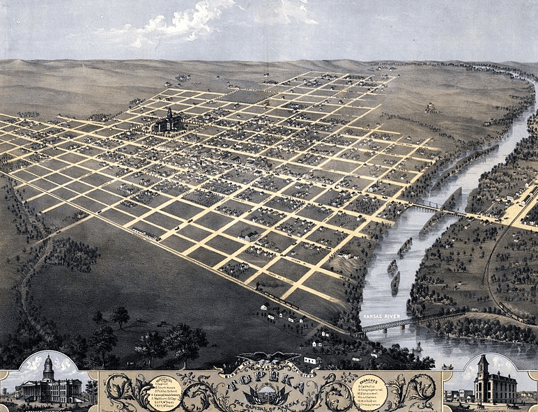 an illustration of Topeka, Kansas, in 1869, by A. Ruger