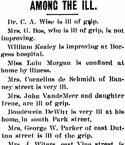 list of sick people, Kalamazoo Gazette newspaper article 9 March 1901