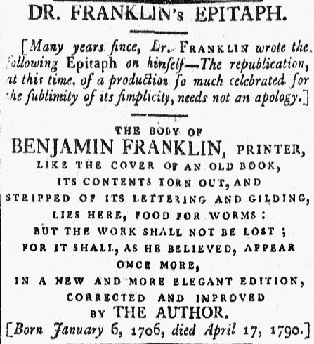 Benjamin Franklin's epitaph, Massachusetts Centinel newspaper article 5 May 1790