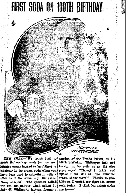 First Soda on 100th Birthday, Miami District Daily News newspaper article 12 August 1919