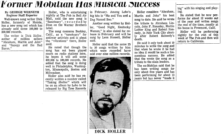 Former Mobilian [Dick Holler] Has Musical Success, Mobile Register newspaper article 30 December 1971