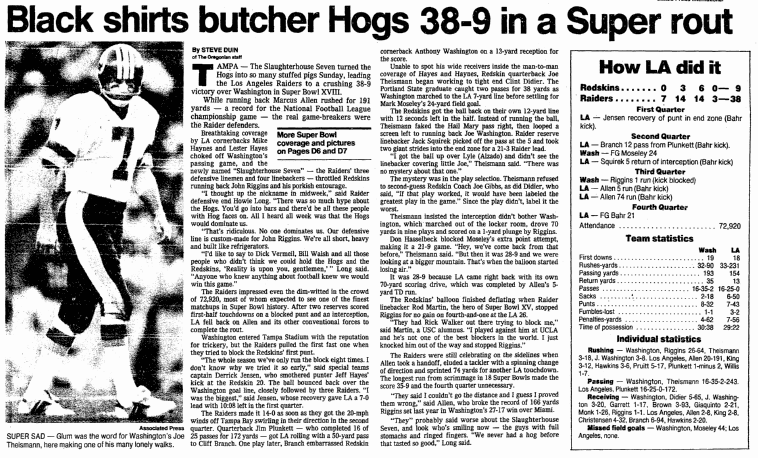 Black Shirts Butcher Hogs 38-9 in a Super [Bowl] Rout, Oregonian newspaper article 23 January 1984