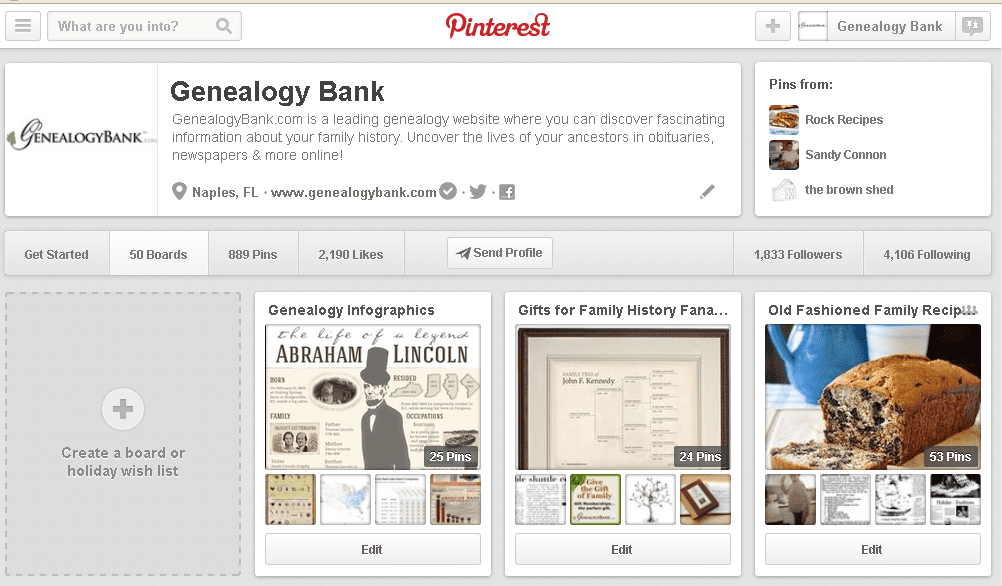screenshot of some of GenealogyBank's boards on Pinterest