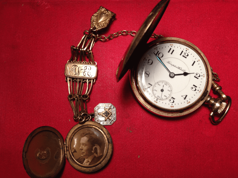 photo of the pocket watch and fob once belonging to Allan Vincent Evenden