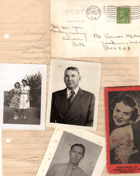 photo of various home sources of genealogy information: old photos and letters