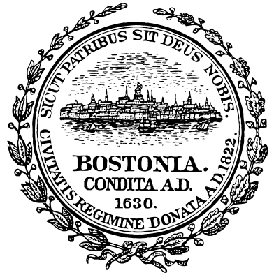 a photo of the official city seal of Boston, Massachusetts