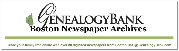 a graphic promoting GenealogyBank's online collection of Boston newspapers