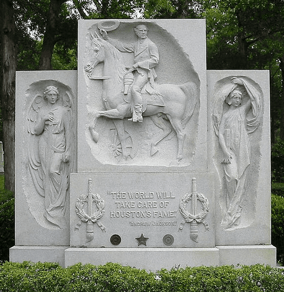 a photo of Sam Houston's gravesite memorial in Huntsville, Texas