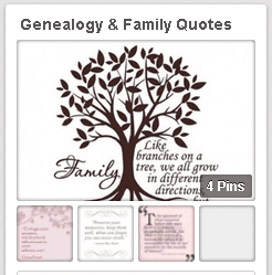 "a screenshot of GenealogyBank's ""Genealogy & Family Quotes"" Pinterest board"