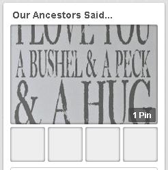 "a screenshot of GenealogyBank's ""Our Ancestors Said..."" Pinterest board"