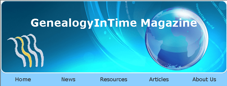 a screenshot of the home page for GenealogyInTime Magazine's website