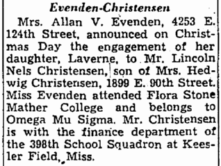 engagement notice for Laverne Evenden and Lincoln Christensen, Plain Dealer newspaper article 4 January 1942