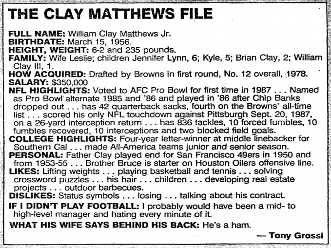 The Clay Matthews File, Plain Dealer newspaper article 8 January 1988