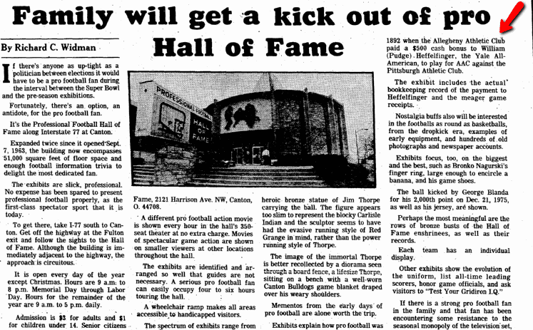 Family Will Get a Kick out of Pro [Football] Hall of Fame, Plain Dealer newspaper article 9 April 1982