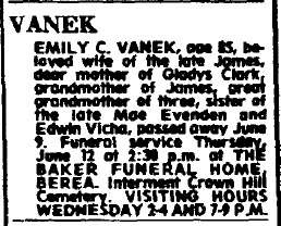 obituary for Emily Vanek, Plain Dealer newspaper article 11 June 1980