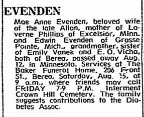 obituary for Mae Anne Evenden, Plain Dealer newspaper article 14 August 1970