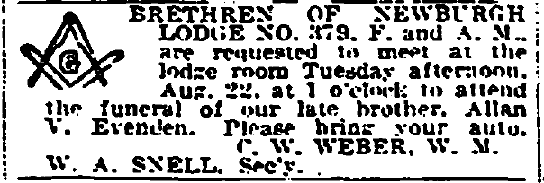 funeral notice for Allan Evenden, Plain Dealer newspaper article 21 August 1933