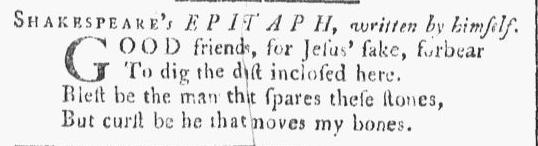 William Shakespeare's epitaph, Providence Gazette newspaper article 23-30 December 1769