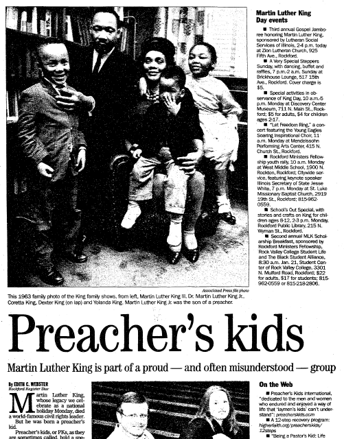 Preacher's Kids; Martin Luther King Is Part of a Proud--and often Misunderstood--Group, Register Star newspaper article 14 January 2006