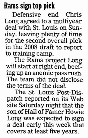 Rams Sign Top Pick Chris Long, Register Star newspaper article 21 July 2008