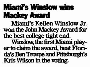 Miami's Kellen Winslow Wins Mackey Award, Register Star newspaper article 11 December 2003