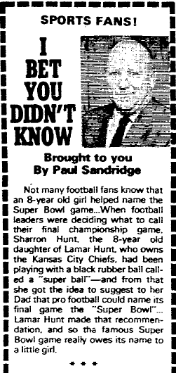 story about how football's Super Bowl got its name, Richmond Times Dispatch newspaper article 24 November 1977