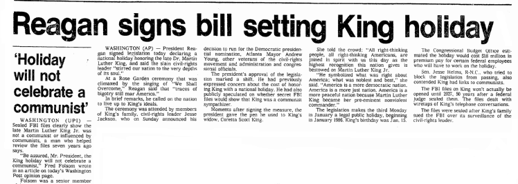 Reagan Signs Bill Setting King Holiday, Seattle Daily Times newspaper article 2 November 1983