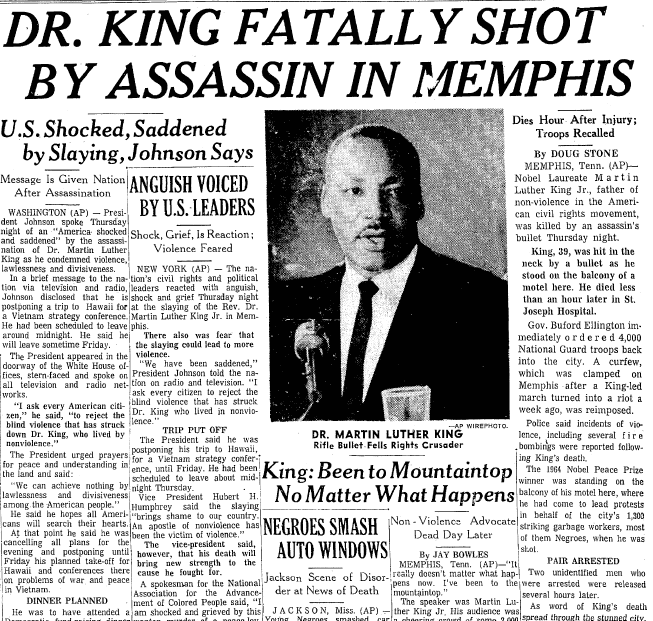 Dr. King Fatally Shot by Assassin in Memphis, Times-Picayune newspaper article 5 April 1968