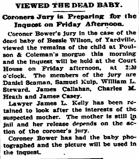 coroner's inquest for the Wilson baby, Trenton Evening Times newspaper article 18 April 1900