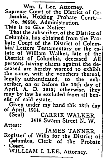 probate notice for estate of William Walker, Washington Bee newspaper article 9 May 1914