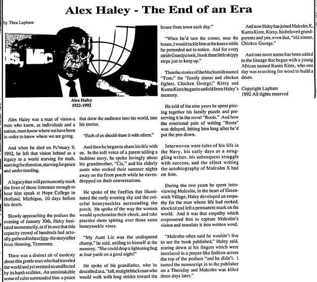 Alex Haley--the End of an Era, Afro-American Gazette newspaper article 1 March 1992
