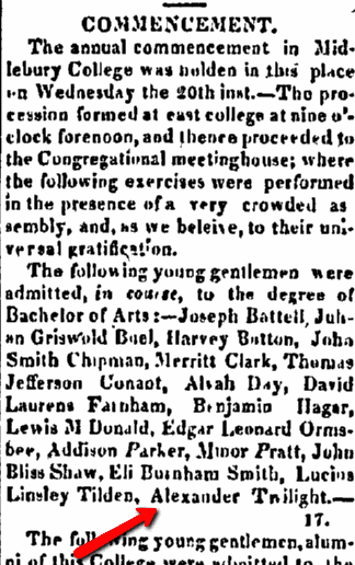 article about Alexander Twilight, American Repertory newspaper article 28 August 1823