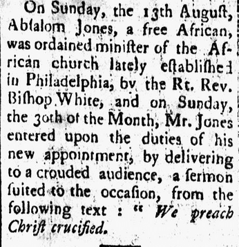 article about Absalom Jones, Amherst Journal newspaper article 26 September 1795