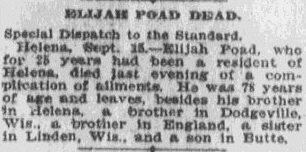 Elijah Poad Dead, Anaconda Standard newspaper obituary 16 September 1910