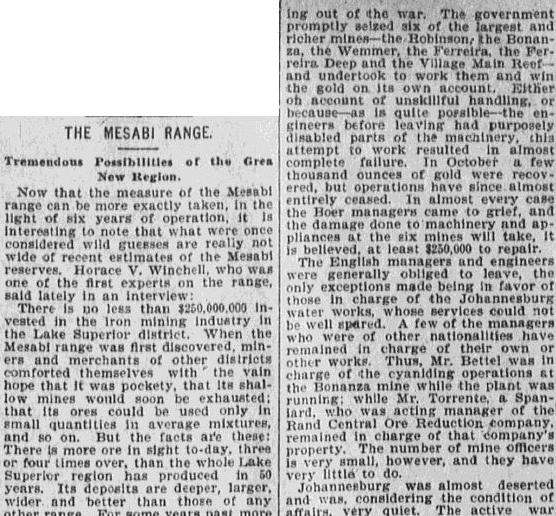 The Mesabi Range (Montana), Anaconda Standard newspaper article 26 December 1899