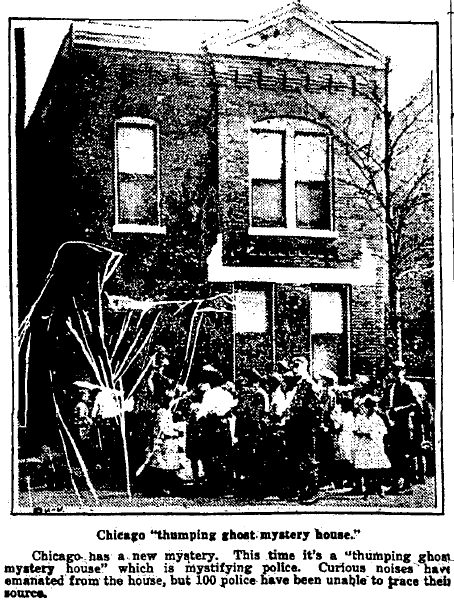 article about a haunted house in Chicago, Augusta Chronicle newspaper article 13 October 1922