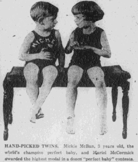 photo of the McBan twins, Baltimore American newspaper article 28 December 1922