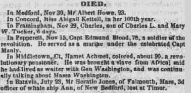 obituary for Hamet Achmet, Boston Courier newspaper article 5 December 1842