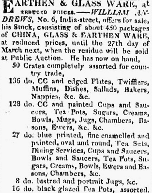 pottery ad, Boston Daily Advertiser newspaper advertisement 4 February 1817
