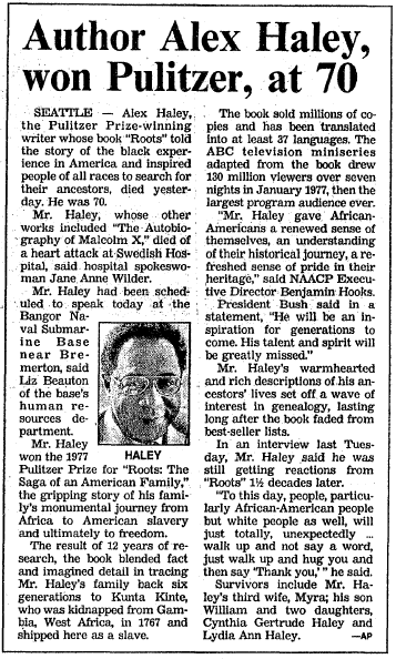 Author Alex Haley, Won Pulitzer, (Dies) at 70, Boston Herald newspaper article 11 February 1992