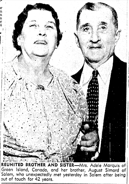 photo of siblings August Simard and Adele Marquis reuniting, Boston Herald newspaper article 9 August 1939