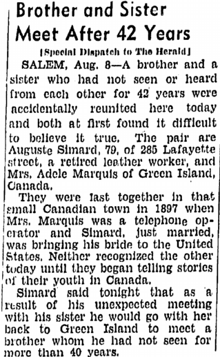 Brother (Simard) and Sister (Marquis) Meet after 42 Years, Boston Herald newspaper article 9 August 1939