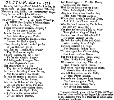 article featuring a poem by Phillis Wheatley, Boston-News Letter newspaper article 13 May 1773