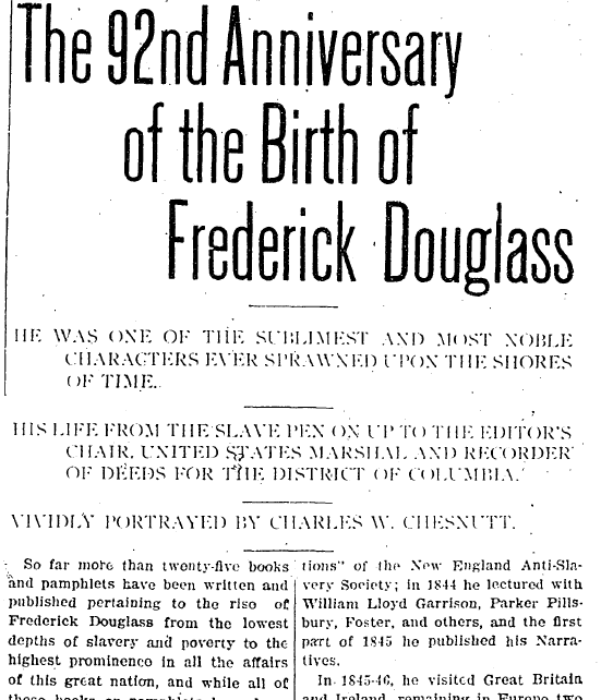 The 92nd Anniversary of the Birth of Frederick Douglass, Broad Ax newspaper article 13 February 1909