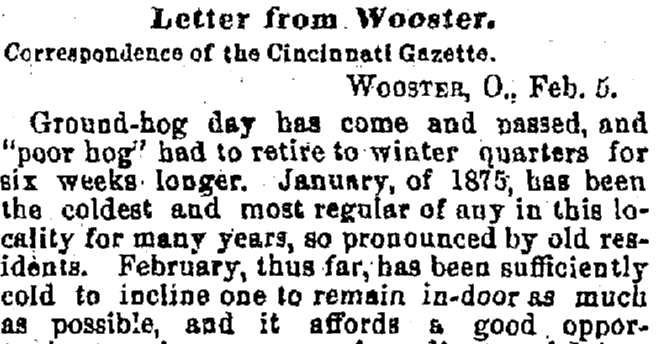 letter to the editor about groundhog day, Cincinnati Daily Gazette newspaper article 10 February 1875
