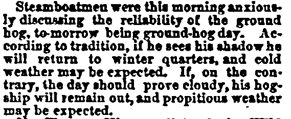Groundhog Day, Cincinnati Daily Times newspaper article 1 February 1872