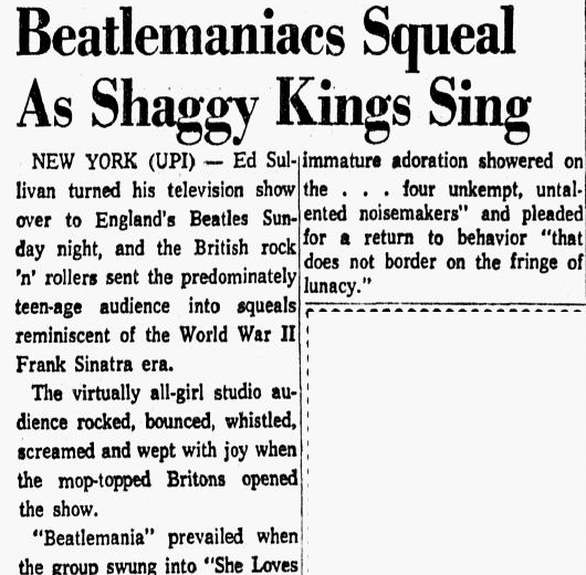 Beatlemaniacs Squeal as Shaggy Kings Sing, Dallas Morning News newspaper article 10 February 1964